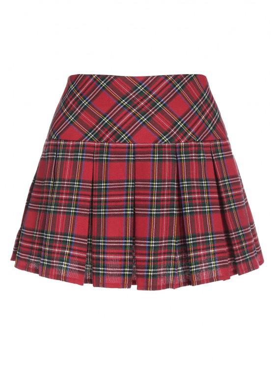 chic ZAFUL Plaid Pleated Mini Skirt - RED S