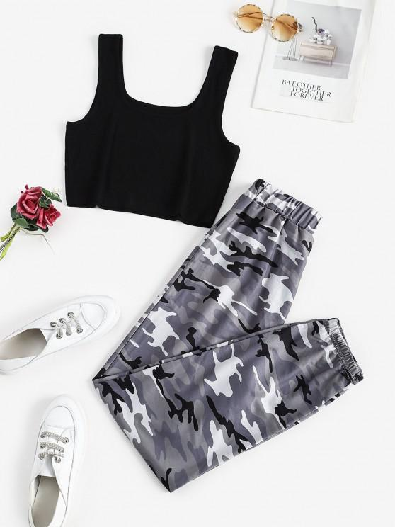 outfits Two Piece Ribbed Camo Sweatpants Set - DARK GRAY S