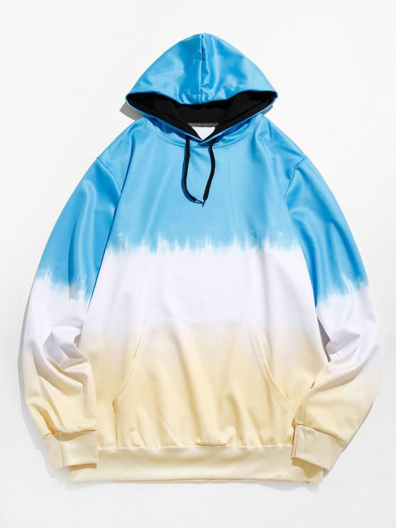 trendy Dip Dye Front Pocket Drawstring Hoodie - DEEP SKY BLUE M