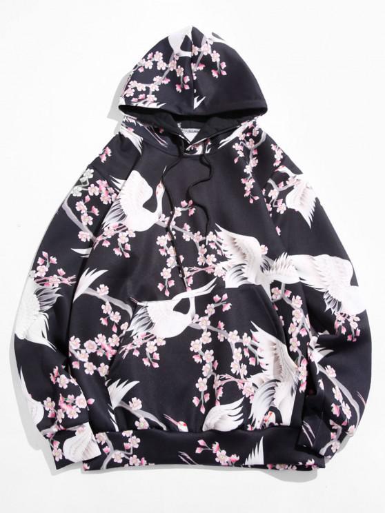 trendy Floral Crane Print Kangaroo Pocket Hoodie - BLACK M