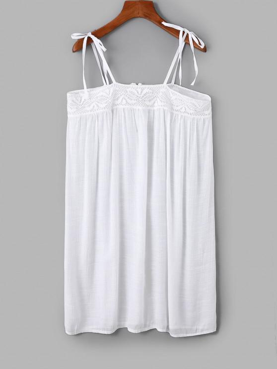 affordable Tie Lace Panel Cami Tunic Top - WHITE ONE SIZE