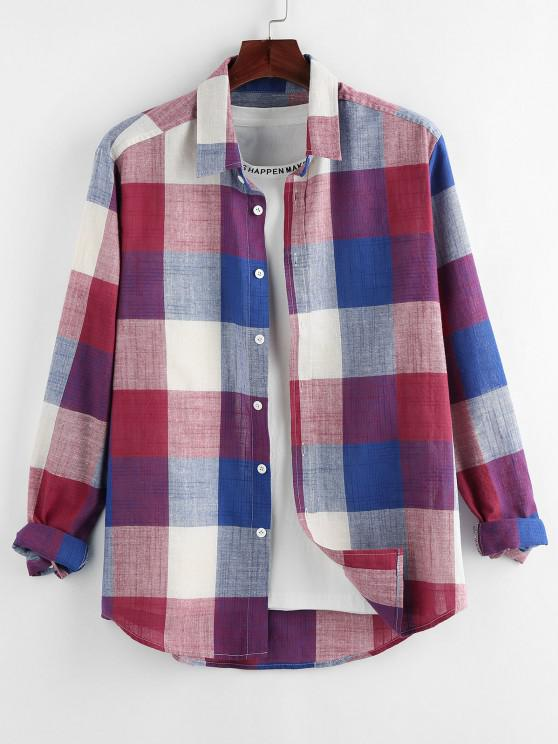 latest ZAFUL Plaid Print Button Up Curved Hem Shirt - RED L