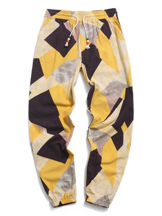 shops ZAFUL  Contrast Geometric Pattern Beam Feet Pants - YELLOW L