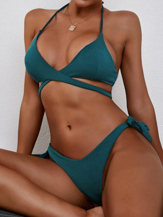 fashion ZAFUL Halter Convertible Ribbed Tie Wrap Bikini Swimwear - DEEP GREEN S