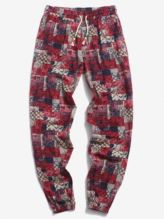 trendy ZAFUL Allover Tribal Pattern Beam Feet Pants - COFFEE M