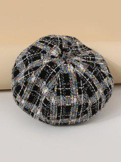 Mixed Color Plaid Painter Beret Hat - Black