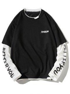 Letter Print Faux Twinset Sweatshirt - Black M