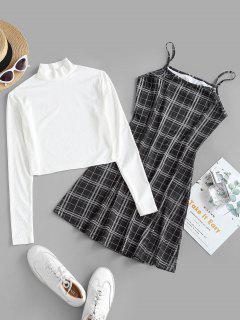 Ribbed High Neck T-shirt And Plaid Cami Dress Set - Black S