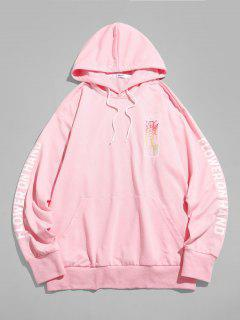 Rose Flower On Hand Pattern Kangaroo Pocket Hoodie - Light Pink 2xl