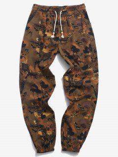 ZAFUL Ink Painting Country Print Beam Feet Pants - Deep Coffee L