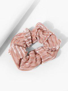 Velour Fabric Striped Scrunchie - Light Pink