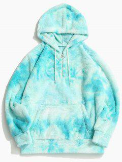 Tie Dye Faux Fur Ring Half Zipper Hoodie - Robin Egg Blue M