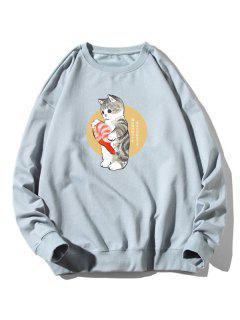 Cartoon Katze Fischdruck Rippen Trim Sweatshirt - Hellblau 2xl