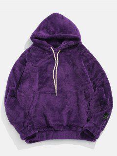 EinfarbigeTasche Flauschige Hoodie - Lila Xs