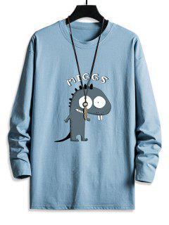 T-shirt Décontracté Dinosaure Mignon Imprimé à Col Rond - Bleu Ciel S