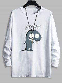 T-shirt Décontracté Dinosaure Mignon Imprimé à Col Rond - Blanc Xs