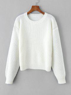 Chunky Knit Drop Shoulder Plain Sweater - White