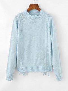 Cinched Tie Ribbed Crew Neck Sweater - Light Blue