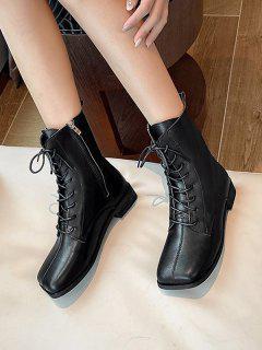 Square Toe Plain Leather Ankle Boots - Black Eu 38