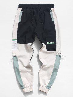 Colorblock Patchwork Letter Print Flap Pocket Cargo Pants - Black Xs