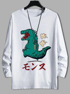 Cartoon Tyrannosauru Graphic Drop Shoulder Leisure T Shirt - White M
