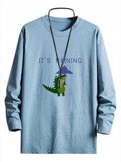 T-shirt Graphique Dinosaure Pluvieux Goutte Epaule à Manches Longues - Bleu Ciel S