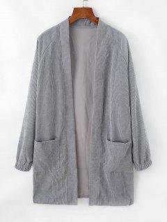 Offener Vorder Kord Mantel Mit Zwei Taschen - Platin S