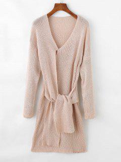 Long Tie Front V Neck Sweater - Light Khaki
