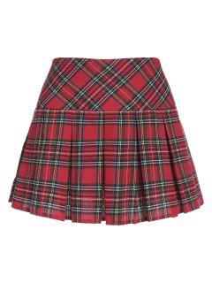 ZAFUL Plaid Pleated Mini Skirt - Red M