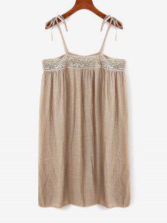 Tie Lace Panel Cami Tunic Top - Light Coffee