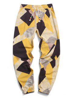 ZAFUL  Contrast Geometric Pattern Beam Feet Pants - Yellow 2xl