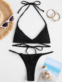 ZAFUL Ribbed Halter Cheeky Wrap Bikini Swimwear - Black S