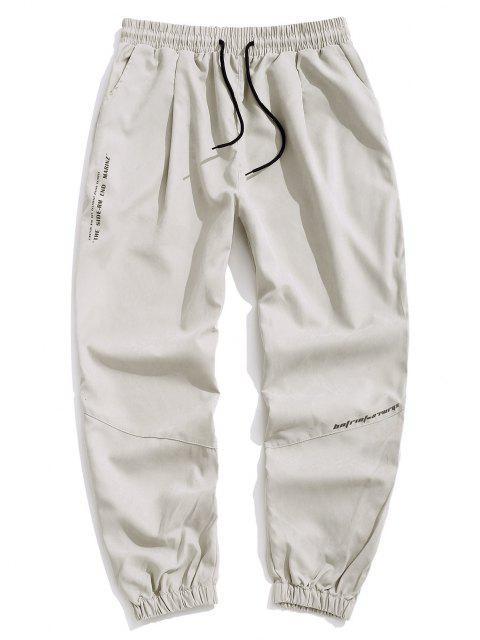 Pantalones Jogger con Cordón y Estampado de Letras - Gris Claro 3XL Mobile