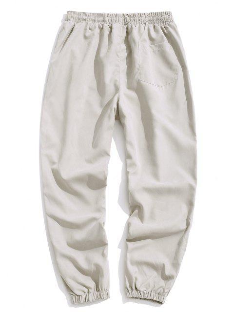 Pantalones Jogger con Cordón y Estampado de Letras - Gris Claro XL Mobile