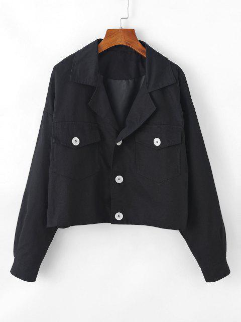womens Flap Pocket Drop Shoulder Lapel Jacket - BLACK S Mobile