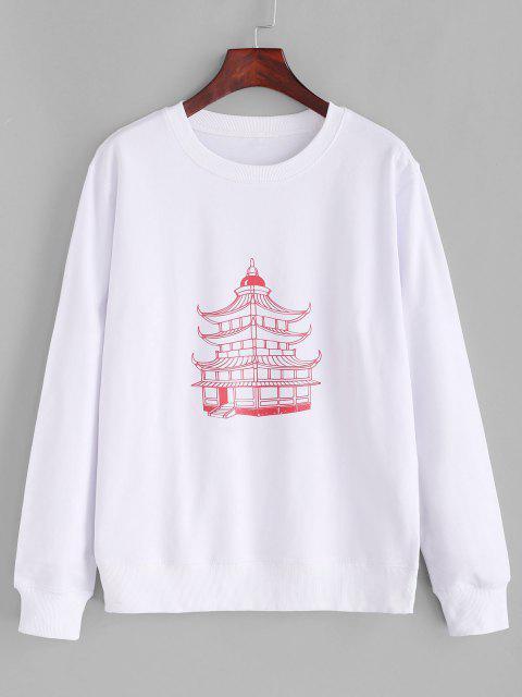 Cotton Temple Graphic Basic Rib Hem Sweatshirt - أبيض S Mobile