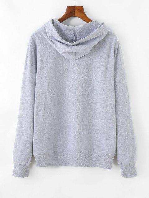 Graphic Drop Shoulder Kangaroo Pocket Pullover Hoodie - رمادي فاتح L Mobile