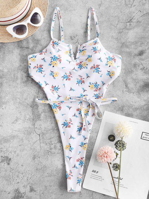 online ZAFUL Floral V-wired Thong Monokini Swimsuit - WHITE M Mobile