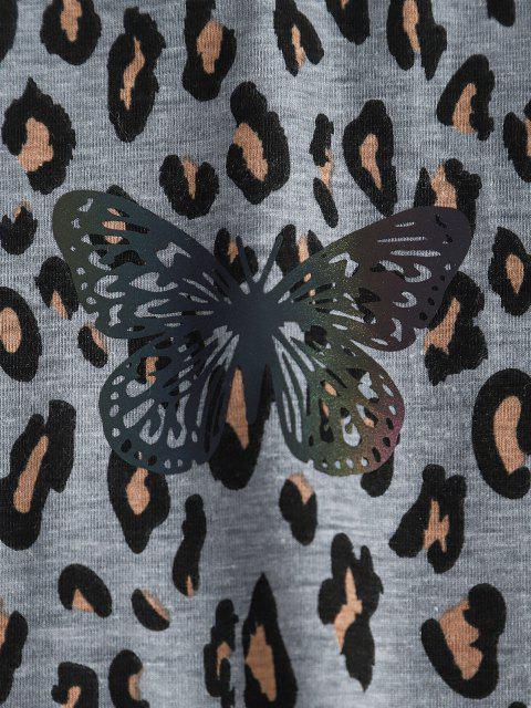 Sweat-shirt Léopard Papillon à Col Rond - Léopard XL Mobile