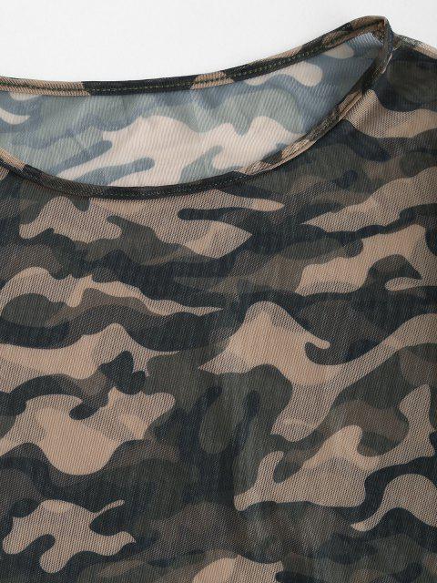women Mesh Sheer Camo Print Short Tee - DEEP GREEN M Mobile
