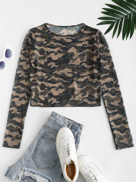 T-shirt Court Camouflage Imprimé en Maille Transparente - Vert profond M Mobile