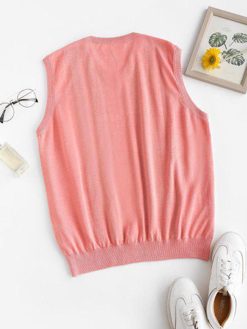 latest Striped V Neck Knit Sweater Vest - LIGHT PINK ONE SIZE Mobile