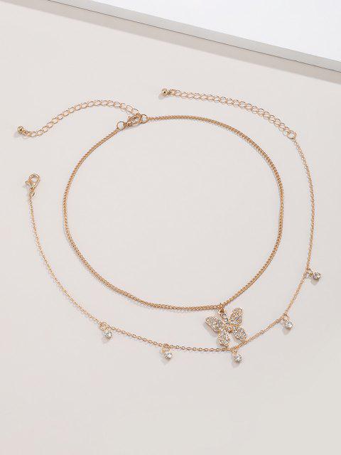 hot 2Pcs Butterfly Rhinestone Choker Necklace Set - GOLDEN  Mobile