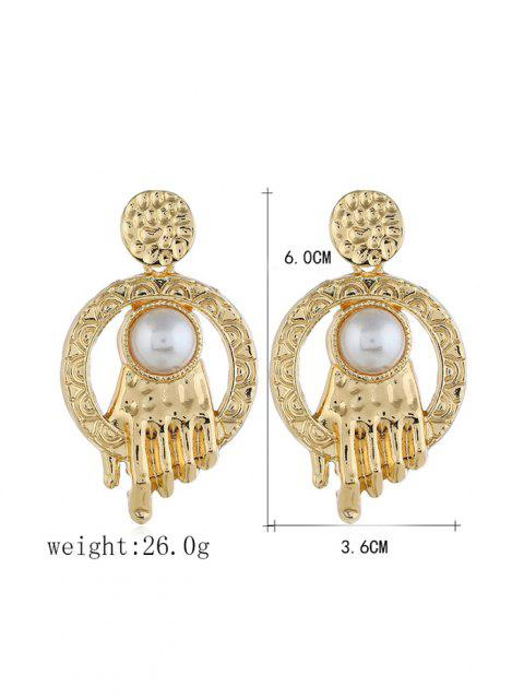 shop Faux Pearl Carved Hand Shape Earrings - GOLDEN  Mobile