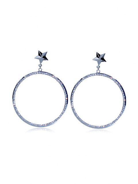 shops Star Rhinestone Big Circle Earrings - SILVER  Mobile