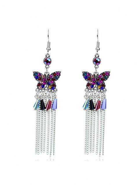 trendy Butterfly Colored Rhinestone Fringe Earrings - SILVER  Mobile