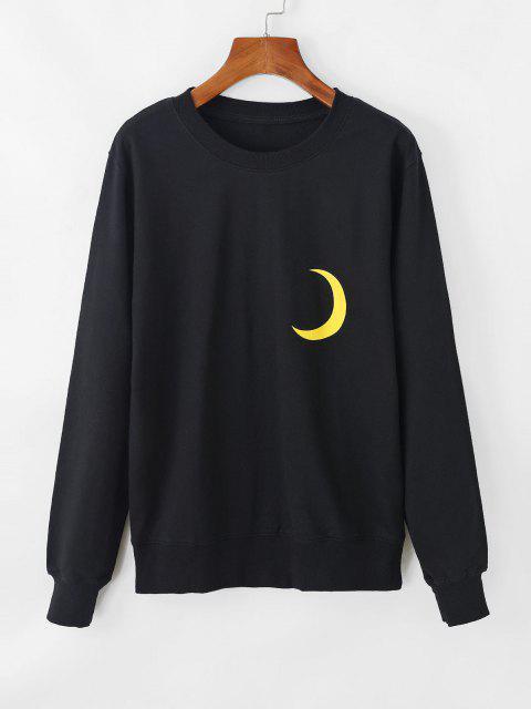 fashion Moon Graphic French Terry Drop Shoulder Sweatshirt - BLACK M Mobile