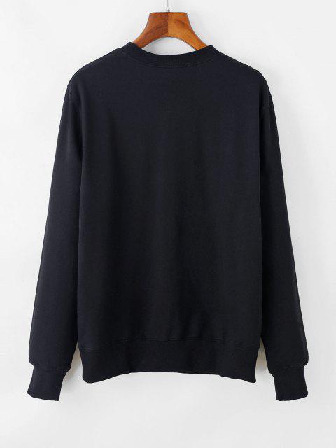 Sweat-shirt Lune Graphique à Goutte Epaule - Noir S Mobile
