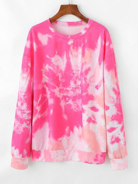 Pullover Tie Dye Sweatshirt - وردة حمراء L Mobile