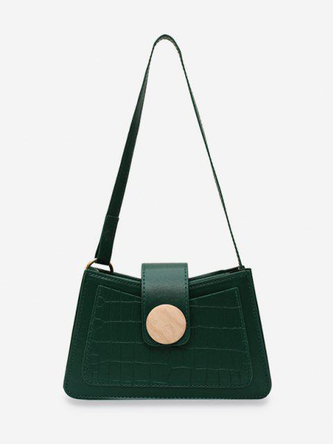 sale Animal Embossed Round Buckle Underarm Shoulder Bag - DEEP GREEN  Mobile